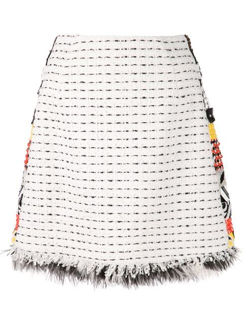 Comprar MSGM falda de tweed con borde con diseño de azulejos en Chalk from the world's best independent boutiques at farfetch.com. Shop 300 boutiques at one address.