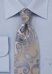 Krawatte XXL Paisleymuster creme hellblau günstig kaufen