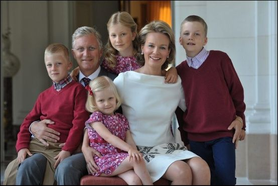 Crown Prince Phillipe and Crown Princess Matilda of Belgium, Duke and Duchess of Brabant, with Prince Emmanuel, Princess Eleonore, Princess Elisabeth, Prince Gabriel