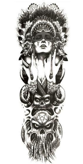 Tattoovorlagen Indianer Kopfschmuck Feder 13