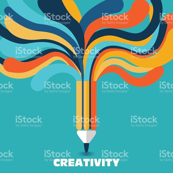 Creative and idea vector concept. A pencil with colorful lines royalty-free stock vector art