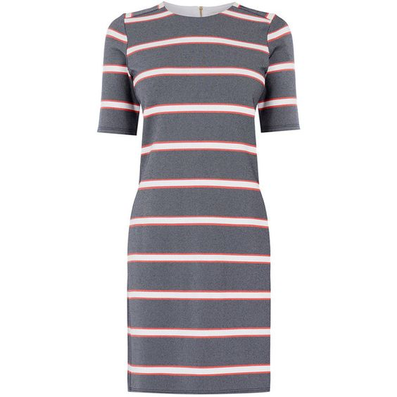 OASIS Stripe Shift Dress ($66) ❤ liked on Polyvore featuring women's fashion, dresses, multi, summer dresses, stripe shift dress, striped dress, striped summer dress and shift dress