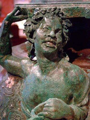 Lidded Cauldron with a Satyr Greek made in the eastern Mediterranean 50-1 BCE Bronze and Silver