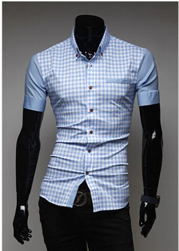 Free shipping 2014 new men's shirts, collar male slim, long seelves, business dress shirts plaid casual shirt 8001
