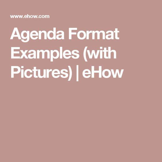 Agenda Format Examples - agenda format