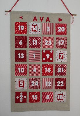 PERSONALISED PATCHWORK HANDMADE CHRISTMAS FABRIC ADVENT CALENDER