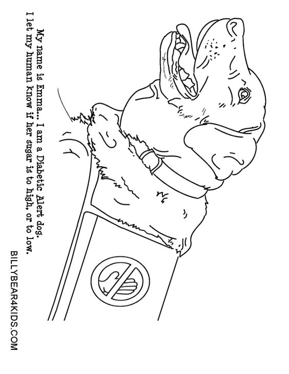 Service Dogs Worksheets For Kids: dog color pages printable   Service Dog Coloring Page to Print    ,