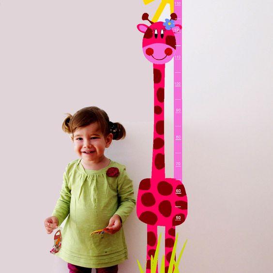 """Wandtattoos - Vinyl Kind Höhenmesser """"Giraffe Pink"""" - ein Designerstück von Keeddo bei DaWanda"""
