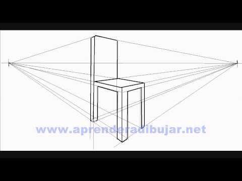 Dessin d'une chaise en perspective 2 points de fuite