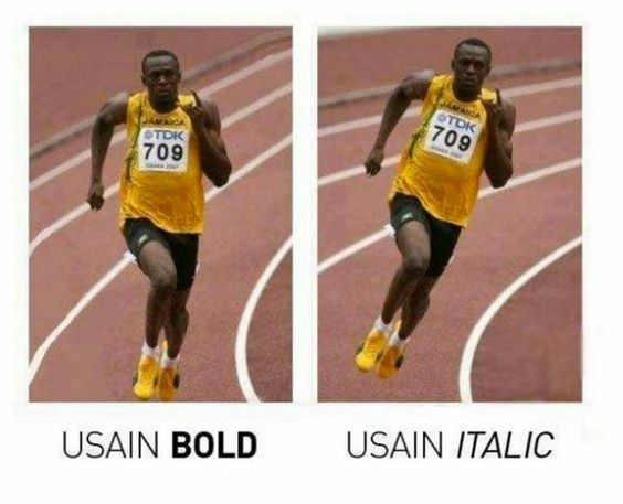 Font comedy. Design. Designers. Typing. Font humour. Funny font joke. Olympic athlete. Usain Bolt.