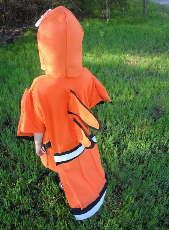 Nemo fish inspired costume clown fish orange black and for Clown fish costume