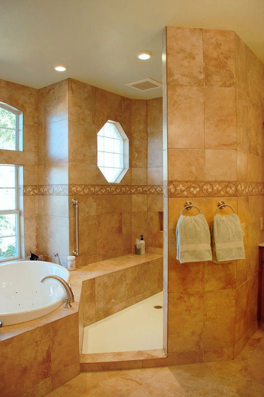 Master Bathroom Pictures Custom Shower With Porcelain Wall Tile And Universal