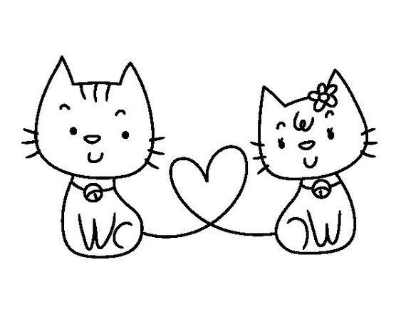 Dibujo de Gatos enamorados para colorear