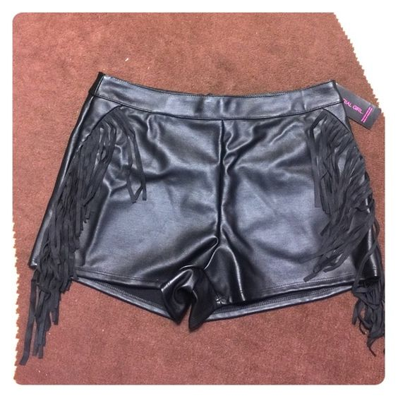 Material girl faux leather shorts Faux leather fringe shorts Material Girl Shorts