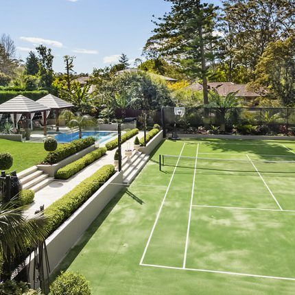 Upper North Shore Backyard Design Backyard Makeover Landscape Design Sydney Nsw Tennis Court Backyard Backyard Sports Tennis Court Design