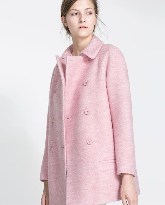 Pink Wool Coat - Zara | Things and Objects | Pinterest | Wool
