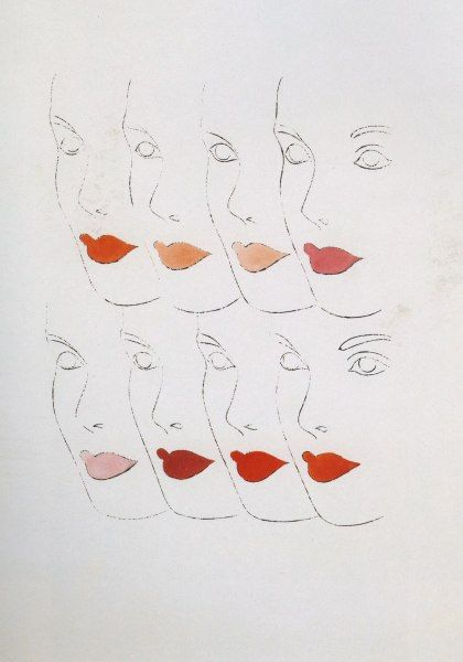 Andy Warhol:  Female Faces Ink and gouache on paper, 1960