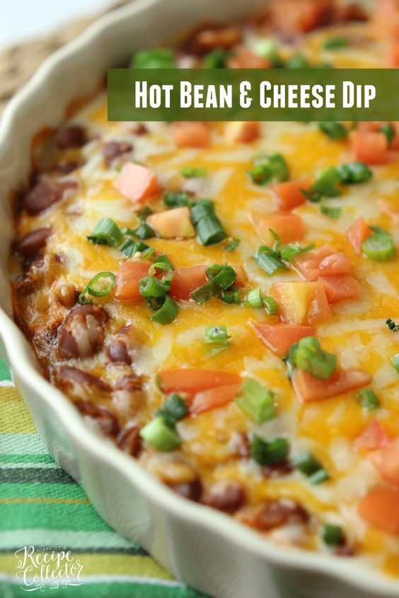 Hot Bean & Cheese Dip - A quick oven-baked dip made with cream cheese, chili beans, salsa, and melty cheese!