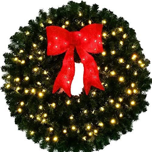 Christmas Wreaths Large 3 Foot Pre Lit Christmas Wreath With Red Bow 36 Inch Pre Lit Christmas Wreaths Large Christmas Wreath Christmas Wreaths With Lights