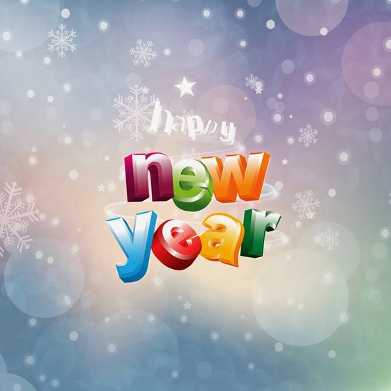 Happy New Year colorful graphic with greetings - Colorful wallpaper with bubbles and snowflakes