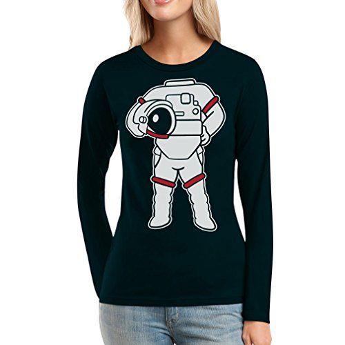 Astronauten Kostüm Druck Karneval Fasching Verkleidung Frauen Langarm-T-Shirt Medium Schwarz Shirtgeil http://www.amazon.de/dp/B01ATOY32M/ref=cm_sw_r_pi_dp_6Zz4wb05ENZY2