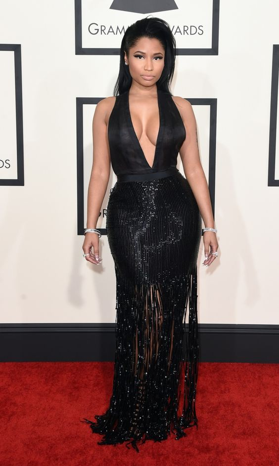Current nomineeNicki Minajarrives at the 57th Annual GRAMMY Awards on Feb. 8 in Los Angeles