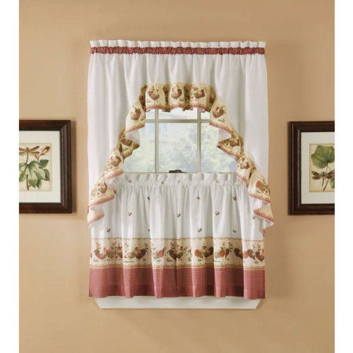 Arlee Red Rooster Kitchen Tier And Valance Swag Set 36