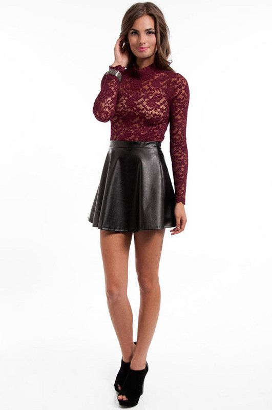Leather Skirt Lace Top