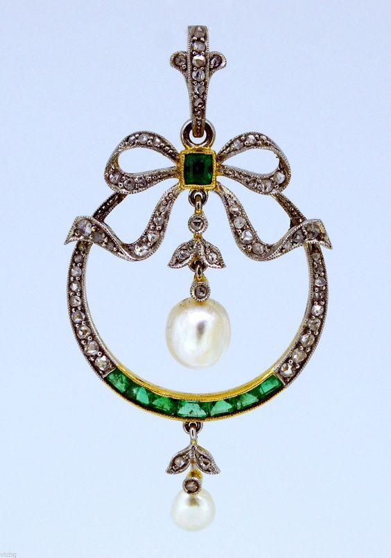 Antique Edwardian Belle Époque Saltwater Pearl Emerald and Diamond Bow Pendant   eBay
