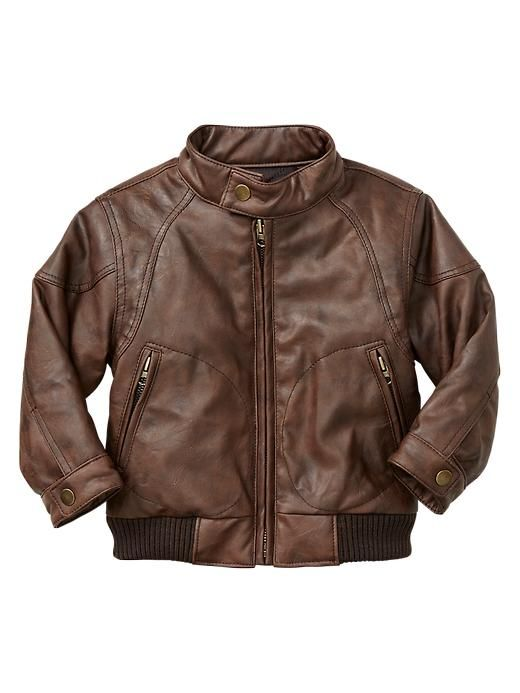 Details about Baby Gap NWT Brown Bomber Jacket Coat Faux Leather 2 ...