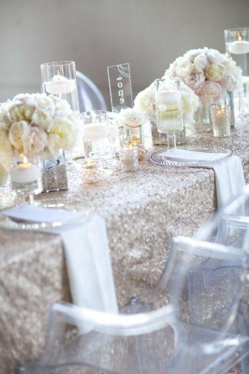 Hochzeitsdekoration selber machen tischdeko funkelnd tischdecke glas geschirr