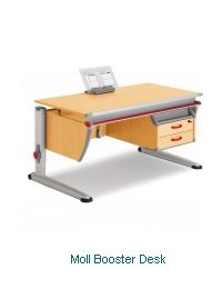 Childrens Desks - Moll Booster Desk - A full width height adjustable desk with a two drawer unit fitted to right or left hand side.  The unit incorporates a handy compartmented level for the storage of those smaller desk items such as pens, paper clips, notepads. - http://www.fineback.co.uk/children/childrens-desks/moll-booster-desk.html