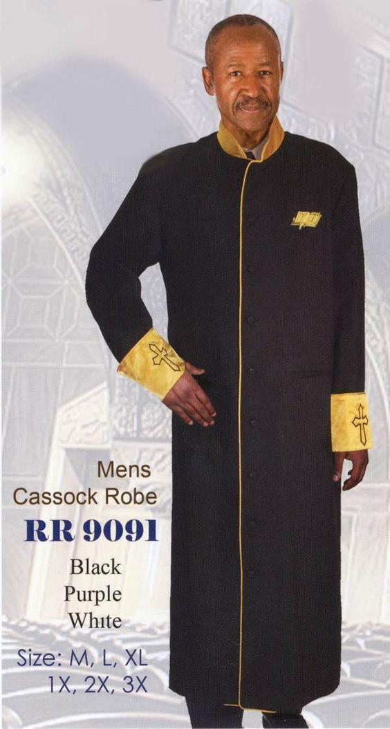 Mens Cassock Church RobeWhite / Gold TrimBlack / Gold Trim Purple / Gold TrimSizes M-3X