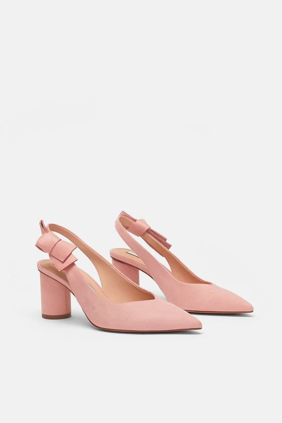 High Heel Shoes With Bow Detail Available In More Colours Preppy Shoes Kitten Heel Shoes Zara Heels