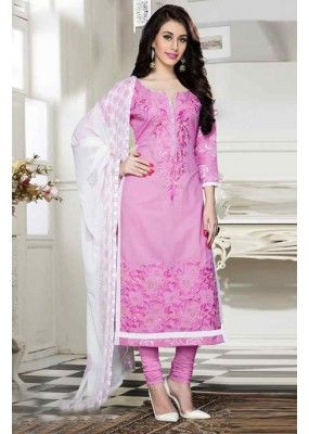Festival Wear Pink & White Cotton Salwar Suit  - 13921