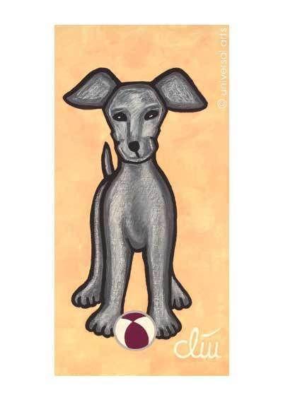 """""""Hund auf gelbem Grund"""" Kunstdruck A4 von universal arts Galerie Studio http://de.dawanda.com/shop/universal-arts"""