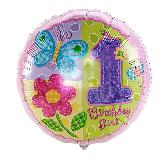 Hugs & Stitches Girl's 1st Birthday Foil Balloon