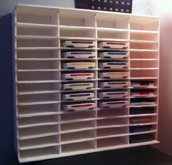 Ink pad storage shelf I made from foam board.