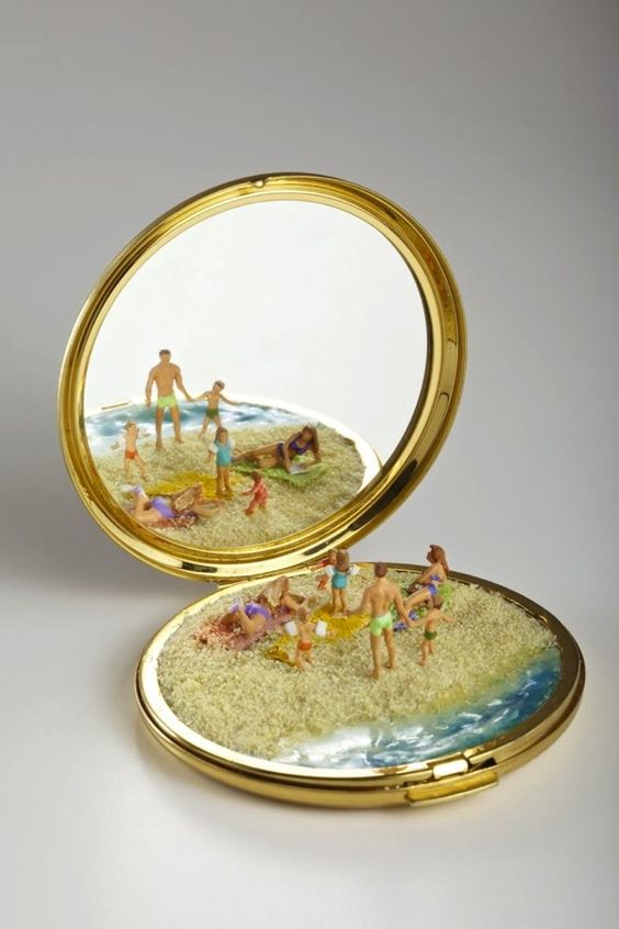 Miniature Nature Sculptures on Portable Mirrors