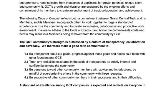 Grand Central Tech (NY) Code of Conduct Codes of Conduct Pinterest - code of conduct example