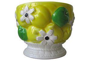 One Kings Lane - Midcentury Desert Chic - Floral & Fruit Pedestal Ceramic Planter