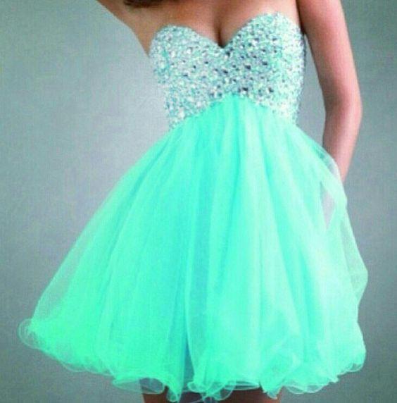 Turquoise short puffy dress - 8th grade Formal Dresses - Pinterest ...