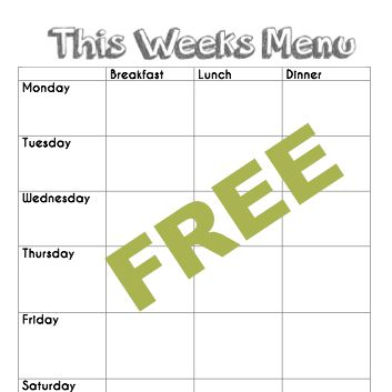 Free blank menu planning template and weekly menu plan for Daycare food menu template