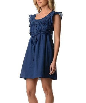 Love this Blue Tie-Waist Lace Flutter-Sleeve Dress by Flawless on #zulily! #zulilyfinds