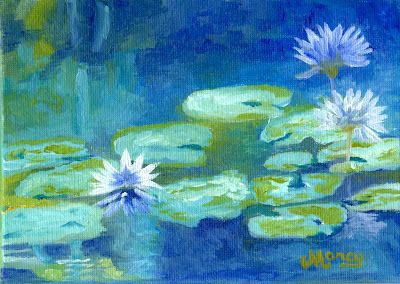 """Purple Water Lily in Blue Lagoon by Marcy Brennan  Oil on 5"""" x 7"""" canvas panel - SOLD - BUY A PRINT"""
