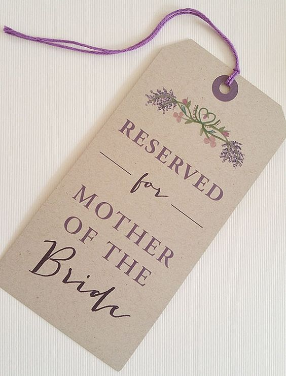 Mark the reserved seats at your wedding with these tags. Reserve the seats for the mother and father of the bride and groom, grandparents and