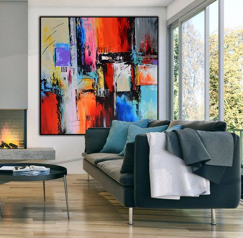 Large Abstract Square Painting On Canvas Modern Wall Art Painting Handmade Wall Art Dec Original Wall Decor Living Room Art Painting Modern Abstract Painting