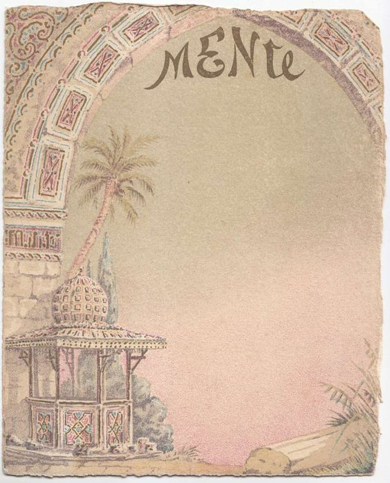 Vintage Blank Menu Card North African Arab by | Vintage ...