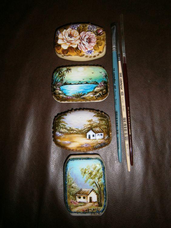 Pinturas em sabonetes