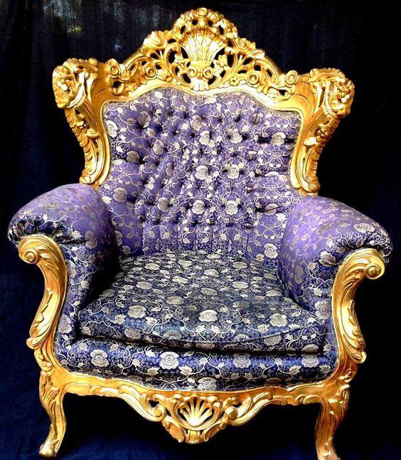 (1) Poltrona Luis Xv Folheada Ouro Entalhada Mão Tecido Captonê - R$ 4.500,00 no MercadoLivre